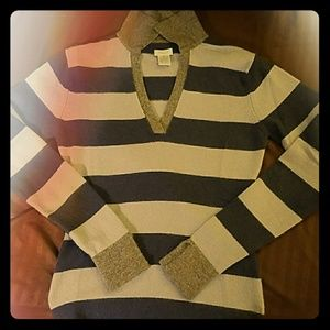 Aqua blue/gray striped 87% cashmere sweater sz. XS